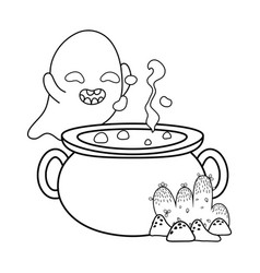 Outline funny ghost character and pot cauldron vector