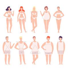 People in white underwear set five types male vector