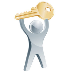 person holding up key to success vector image