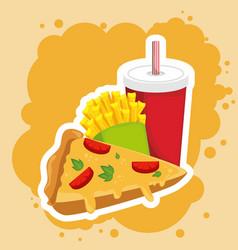 Pizza combo icon design vector