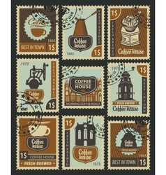 Postage Stamps on the theme of coffee vector