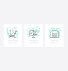 Product design creativity concept linear icons vector