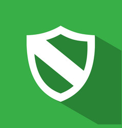 Protection shield icon with shade on green vector