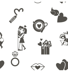 Romantic Seamless with Symbols of Valentines Day vector image