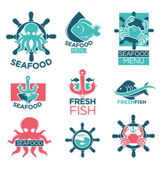 Seafood colorful logo labels flat set on white vector