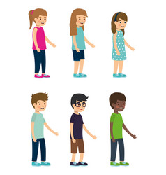 set kids character on white background vector image