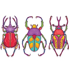 Set of 3 Beetle Bugs Insect Colorful Hand Drawn vector