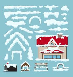 Set of isolated snow caps winter house decoration vector