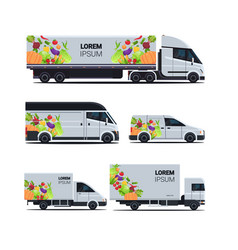 Set realistic van truck trailer with organic vector