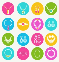 Set women accessories collection of jewellery vector