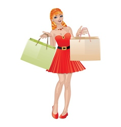 Shopping girl with red hair2 vector