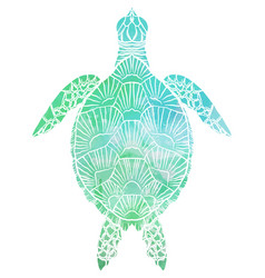 Silhouette a sea turtle top view with vector