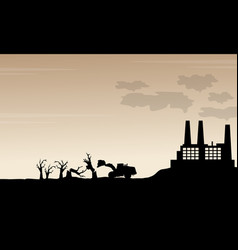 Silhouette of industry bad environment scenery vector