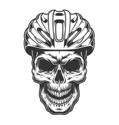Skull in the bicycle helmet vector