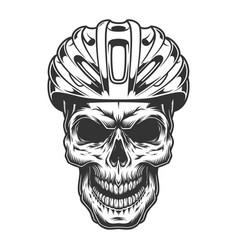 Skull in the bicycle helmet vector