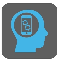 Smartphone Mind Control Rounded Square Icon vector