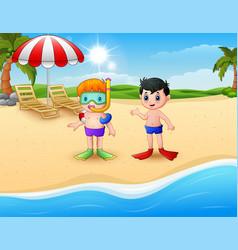 Snorkeling kids standing on beach vector