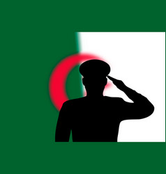 Solder silhouette on blur background with algeria vector