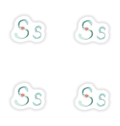 Stiker Abstract letter S logo icon in Blue vector