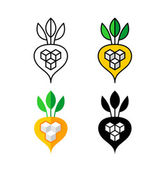 Sugar beet logo white and yellow beetroot vector