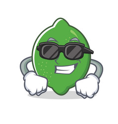 Super cool lime character cartoon style vector
