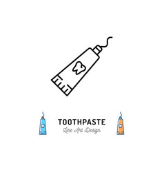 toothpaste tube line icon dental hygiene logo vector image