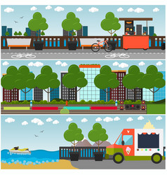 training outside interior flat poster set vector image