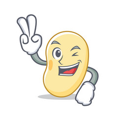 Two finger soy bean character cartoon vector