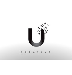 U logo letter with flock of birds flying and vector