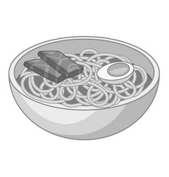 Udon noodles icon monochrome vector