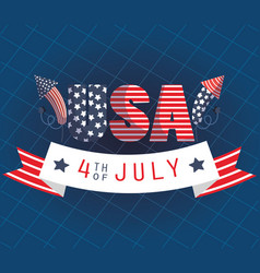 Usa text with fireworks and 4th july ribbon vector