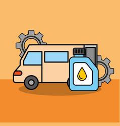Van car service maintenance gears engine oil vector