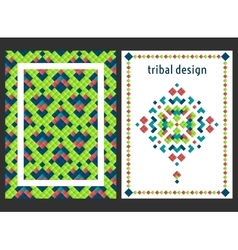 Vertical card with bright tribal ornament vector