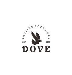 vintage pigeon dove logo design vector image