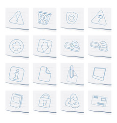 Web site and computer icons on a piece of paper vector