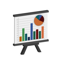 Whiteboard with infographics symbol flat vector