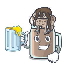 With juice milkshake mascot cartoon style vector