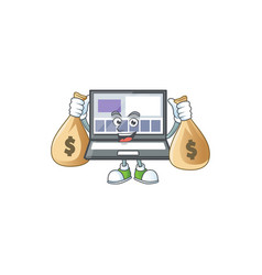 With money bag laptop with a cartoon character vector