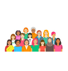 Women group different ethnicity age and race vector