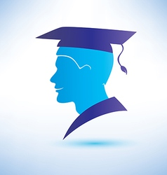 Young man silhouette with graduation cap vector