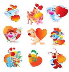 a set of animals with hearts Valentine s day vector image