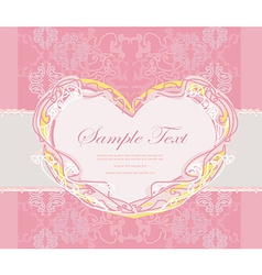 abstract floral heart frame invitation card vector image vector image