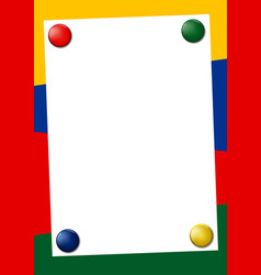 bright colored frame with pin magnets vector image