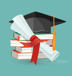 degree scroll pile of books and black graduation vector image