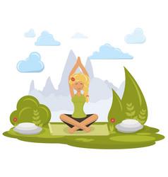 girl doing yoga vector image vector image