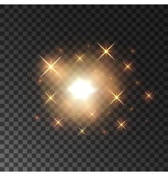 Glittering golden star light sparks vector image vector image
