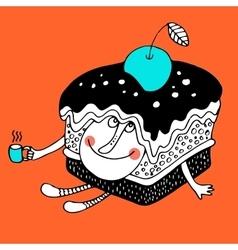Nice comic cartoon character of cake vector image vector image