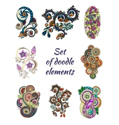 Set of Henna Paisley Mehndi Doodle Element vector image vector image