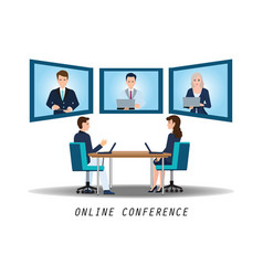 businesspeople attending video conference on desk vector image vector image