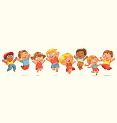 children jump for joy banner vector image